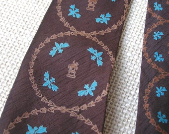 40s 50s Vintage All Silk Necktie . Desmond's Southern California . Moulin Rouge . Thominet Paris . brown necktie