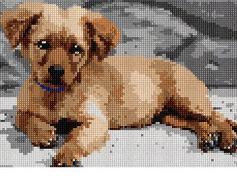 Needlepoint Kit or Canvas: Golden Retriever Puppy