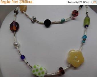 ON SALE Fabulous Art Glass Beaded Necklace