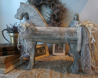Primitive farmhouse wooden horse distressed white w/ gray tattered tail rustic antique barn wood style piece home decor anita spero design