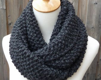 SALE - Charcoal Gray Infinity Scarf - Dark Gray Infinity Scarf - Wool Scarf - Chunky Scarf - Circle Scarf - Ready to Ship