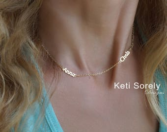 Personalized Names Necklace - Customize It with Names: Kids Names, Couple's Names, Family Names - Yellow Gold, Rose Gold and Sterling Silver
