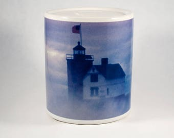 Coin Bank, Round Island Lighthouse in Fog Design, Artistic, Blue, White, Photograph
