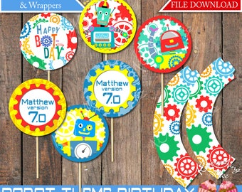 Robot Theme Birthday Cupcake Toppers and Wrappers Printable Digital Download