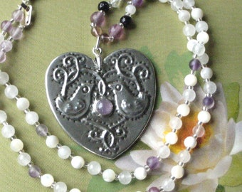 Amethyst Silver Pewter Heart Pendant with Bird Motif on a Gemstone Necklace