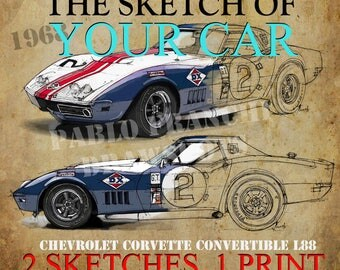 2 PERSONALIZED HANDMADE sketches,gift for men,art for men cave,11.5x16in. Your own car.Send me a photo and I'll do it.Custom gift for him