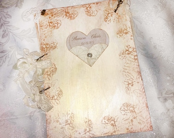 The Journey of the heart Wedding Guest Book - In vintage rustic scrapbook style