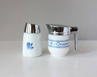 Vintage Creamer and Sugar Dispensers, Gemco Snowflake Blue Garland, Morning Glory Milk Glass, Mix and Match, Corning Cornflower Tableware
