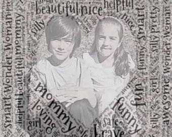 Custom Word Art Print With Photograph: Baby, Kids, Gift (UNFRAMED)