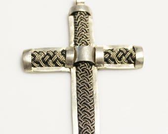 Unique Braided Cross Pendant Handmade in Ethiopia, Black and Silver African Pendant  (AL250)