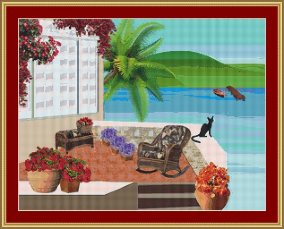 Cat Sitting On The Balcony Cross Stitch Pattern /Digital PDF Files /Instant downloadable