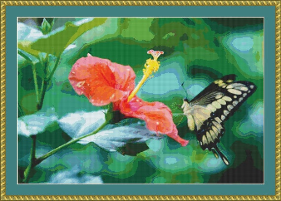 Papillio Cresphontes Butterfly Cross Stitch Pattern /Digital PDF Files /Instant downloadable