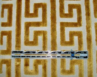 Classic GREEK KEY GEOMETRIC Cut Velvet Fabric 10 yards Gold Cream
