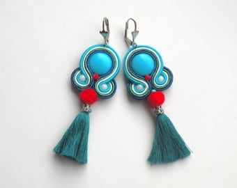 Earrings-soutache-boho-ethnic-OOAK Emerald Tassel