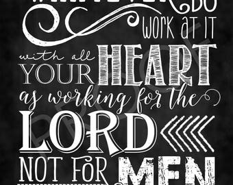 Scripture Art - Colossians 3:23 Chalkboard