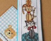 Handmade Stitched Bookmark Cat design Pussy Crazy Cat Lady Felt Backed Book Mark