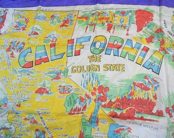 Souvenir of California map scarf - vintage 1950s scarf - midcentury collectible
