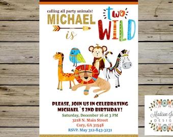 Two Wild SAFARI Boho Birthday INVITATION, Two Wild Boy Birthday Invitation, Safari Animals Birthday Invite, Tribal Boho Birthday Invite