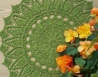Handmade crochet doily, stylish interior decor - Big size green doily