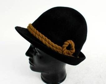 SALE Vintage Black Wool Fedora / Men's Wool Hat Size 58