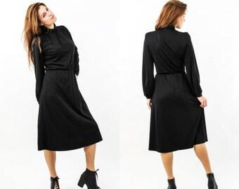SALE Vintage Black Long Sleeve Midi Dress Size M