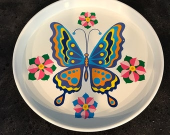 Vintage Metal Butterfly Serving Tray 1970's Metal Serving Tray Beverage Tray