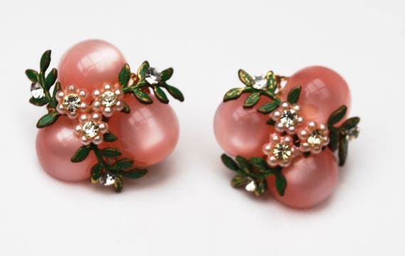Pink flower earrings - moonglow Lucite  - Clear rhinestone -White Pearl- Green Enamel - Clip on earrings