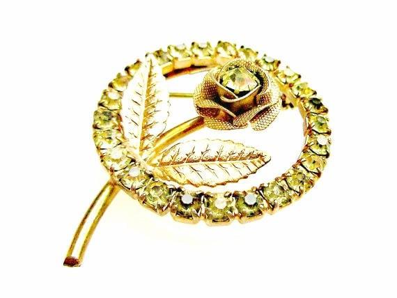 flower Rose Brooch - Yellow  Rhinestone gold  - mid century  - Circle pin