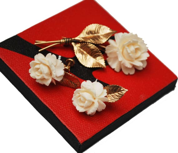 White Celluloid flower Brooch and  earring set  - Signed Van Dell - 12 kt gold filled -rose floral
