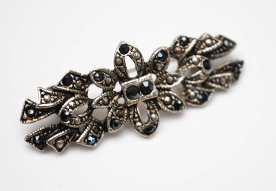 Silver Marcasite Bar Brooch -Black rhinestone -  Abstract - Art Deco Style Pin