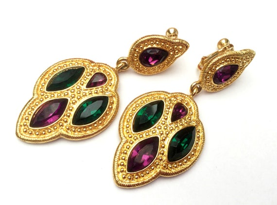 Napier earrings - Dangle Drop - purple green Rhinestone - Gold plated - Byzantium -  Clip on earring