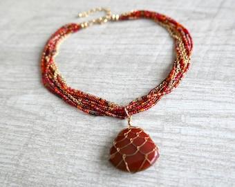 bib necklace cornelian