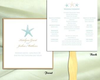ON SALE Starfish Wedding Ceremony Program Fan 1