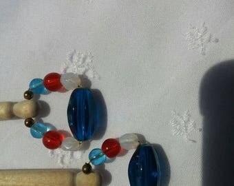 Celebrate Wood Bobbin Lace Bobbins with Glass Bead Spangles