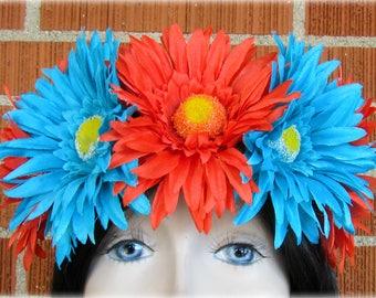 Orange & Blue Flower Crown, Floral Crown, Flower Halo, Flower Headband, Floral Headband, Daisy Crown, Flower Wreath, Wedding, Festivals