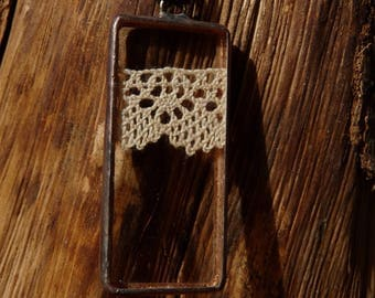 Rectangle pendant - 4 - antique lace and glass