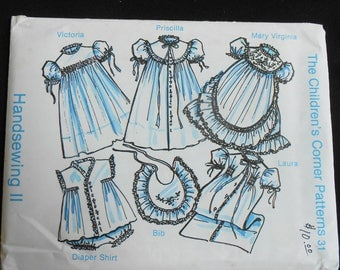 Children's Corner pattern Handsewing II Mary Virginia Laura sz Infant Heirloom Sewing Pattern Baby Girl Dressy Dress Daygown Diaper Set 1982