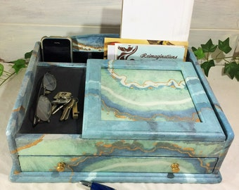 Large Men's Valet in Blue Agate Shades of Blue Turquoise, Painted Dresser Valet Storage, Coastal Desk Accessories, Blue Marble Jewelry Box