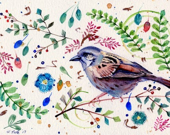 house sparrow original watercolor painting part of sparrow collection