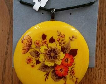 Vintage Flowers Fused Glass Pendant