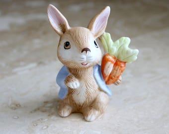 Porcelain rabbit figurine, Homco rabbit figurine with blue jacket, Home Interiors rabbit, bunny figurine, Easter Bunny, Easter gift, rabbit