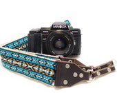 Camera Strap - Teal Vintage Style Woven Ribbon on Organic Hemp Webbing and Leather Ends - works with DSLR, SLR and Manual Cameras