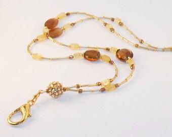 Gold Beaded Id Lanyard, Badge Lanyard, Fancy Cruise Id Badge Holder, Teacher Lanyard, Id Necklace, Eyeglass Holder, LY08102