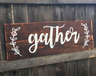 Gather pallet painted solid wood sign