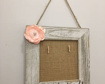 Shabby Chic Love at first sign Hand-painted Hanging Picture Frame with PINK pearl Flower