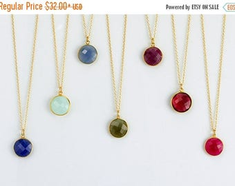 ON SALE Gemstone pendant necklace, bezel set necklace, Layered Necklaces, Large Round Gemstone necklace, Framed Stone Pendant, Layering Jewe