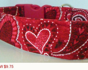 "Sale - 50% Off - Valentine Dog Collar -Red, Black & White Paisley Hearts-""Love"" - Free Colored Buckles"
