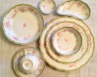 Haviland Limoges/8 Pc Table Setting/French Limoges Dinner Set/Pink Floral Limoges/1930s Haviland Limoges/Handpainted French Table Setting
