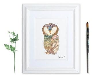 Owl Watercolor Art   Self Love Bird Illustration   Zen Animal Print   Chakra Owl Meditating Art   Owl Lover Gift   Gifts for Yogi