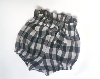 Black and White Check Cotton Girls High Waisted Bloomers Shorties Size 12-18 months ready to Ship